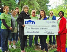 Kelly McGillis and Priscilla McDow accept a check from Lowe's during the 2016 Women Build Week event.