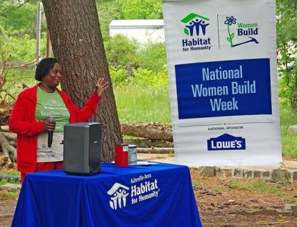 Future homeowner Priscilla McDow speaking during the Women Build Week celebration